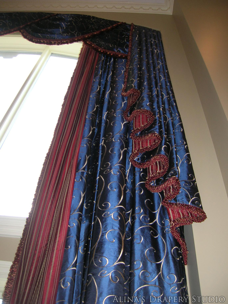 Draperies and top treatments alina 39 s drapery studio High ceiling window treatments