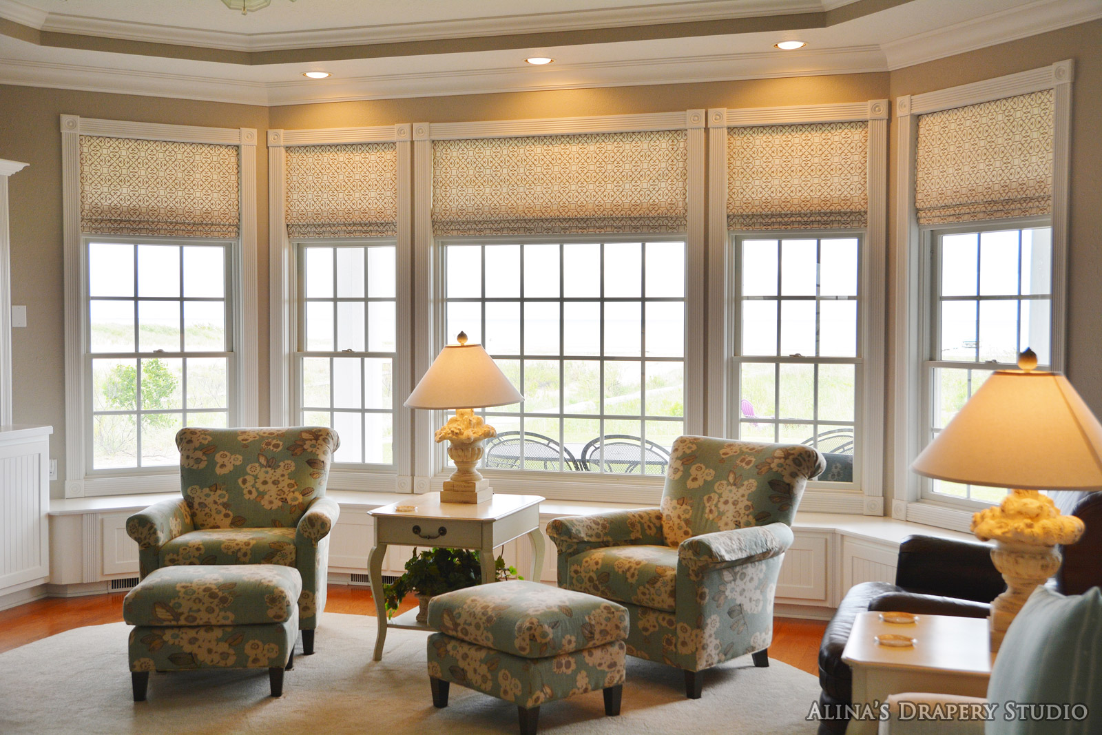 Roman shades in living room for Living room blinds