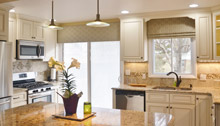 kitchen cornice roman shade
